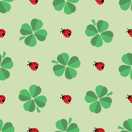 lucky clover: Cute pattern with lucky clover and ladybird