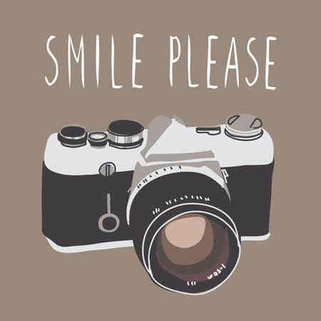 smile please: Vintage camera isolated. Vector illustration