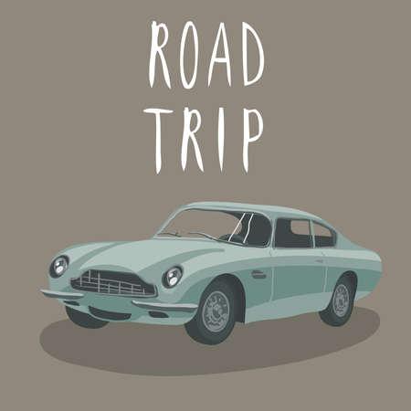 car isolated: Silver retro car isolated. Vector illustration. Cartoon car