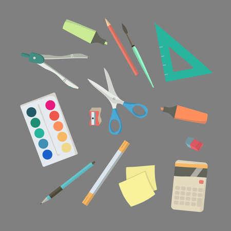 classroom supplies: School supplies. Back to school Education. Classroom Illustration