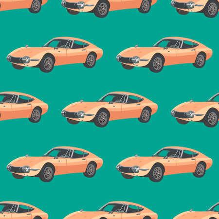 Retro car pattern, illustration