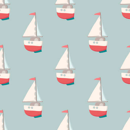 playroom: Pattern with yacht. Nautical elements. Retro toys. Summer Travel Design - Sail Boat. illustration Illustration