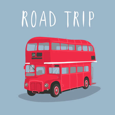 Double decker red bus vector illustration. City public transport service vehicle retro-bus isolated on blue background