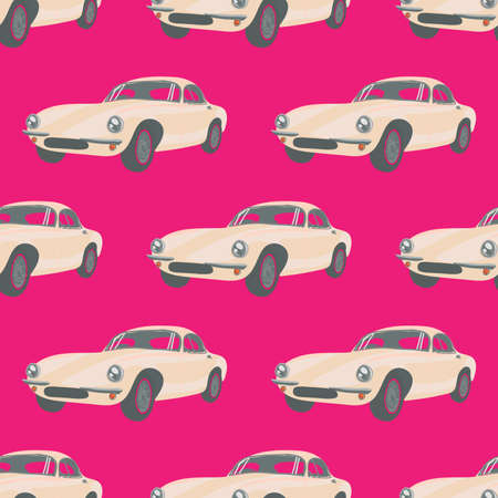 babyroom: Seamless pattern with white race car. Vector illustrations