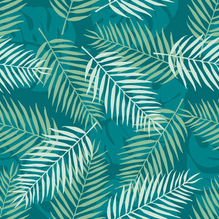 pattern: Fashion seamless vector pattern. Tropical leaf. Hawai. Fabric. Summer time Illustration