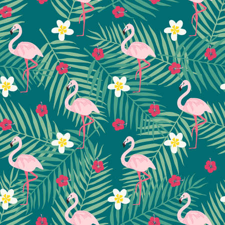 Tropical flowers background. Trendy seamless pattern with pink flamingo, flower and tropical leafs. Beach background. Tropical paradise