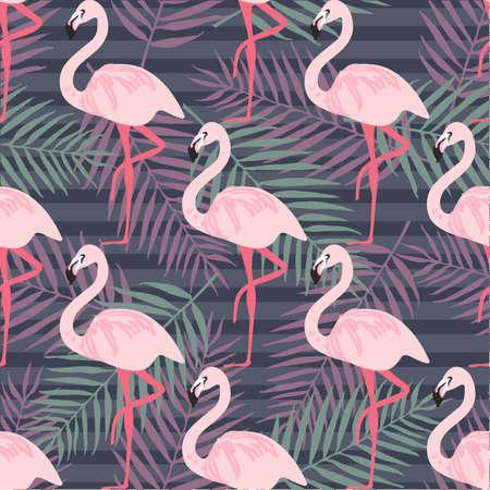 Tropisch trendy naadloos patroon met roze flamingo, ananas, tropische bladeren. Strand achtergrond. Tropisch paradijs Stock Illustratie