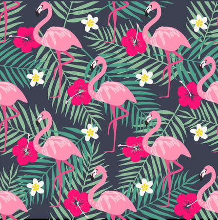 Tropical trendy seamless pattern with pink flamingo, pineapples, tropical leafs. Beach background. Tropical paradise Иллюстрация