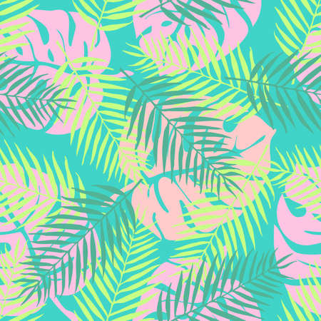 Fashion tropical seamless pattern. Colorful palm leaves. Modern endless background. Exotic. Summer pattern.