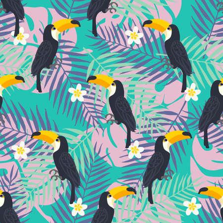 Tropisch trendy patroon met toucan vogels.