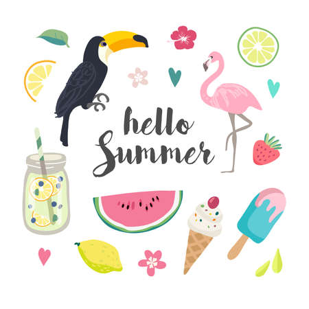 Set of cute summer icons. Stock Illustratie