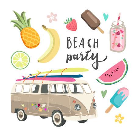 Set van leuke zomerpictogrammen: eten, drankjes, fruit en auto. Heldere zomer poster. Verzameling van scrapbooking elementen voor strandfeest. surfen. hawai Stock Illustratie