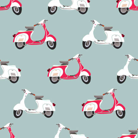 Retro vector scooter illustration. Seamless pattern with scooters. Stock Photo