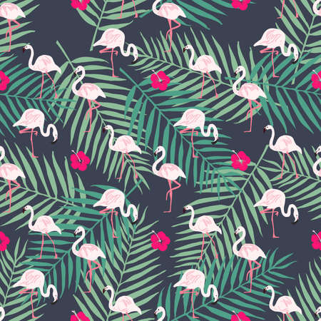 Fashion seamless vector pattern. Flamingo pattern. Tropical bird and leaf, flower