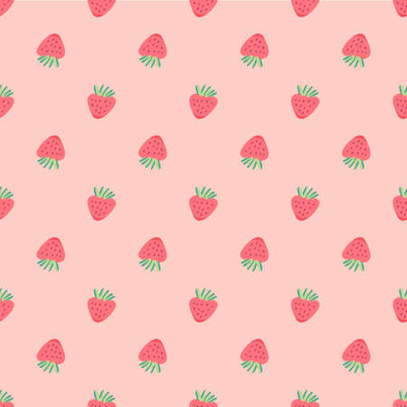 Strawberry vector pattern background, Fruit illustration on white background, Seamless background with red strawberries