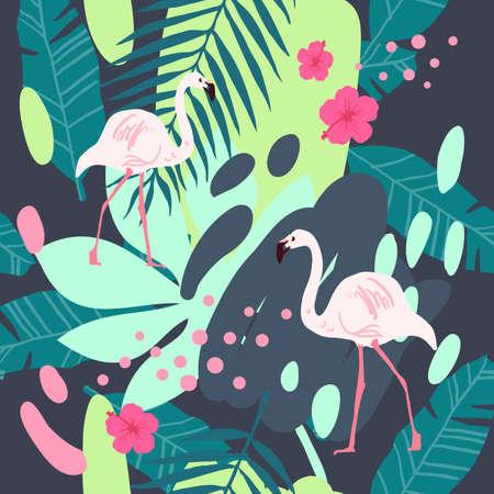 Tropical flamingo pattern. Cute summer seamless vector Ilustração