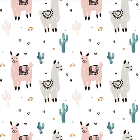 Seamless pattern with lama, cactus and hand drawn elements. Great for fabric, textile Vector Illustration Ilustração