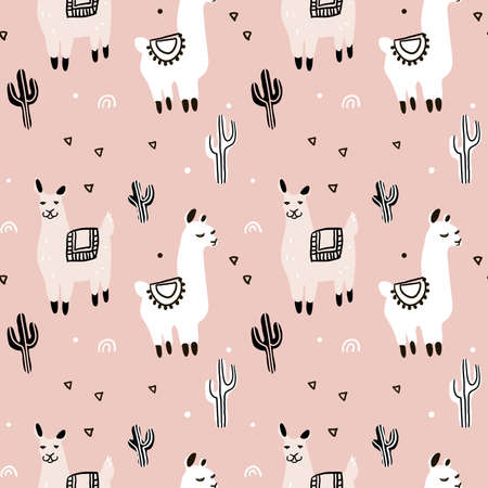 Seamless pattern with lama, cactus and decorative elements.
