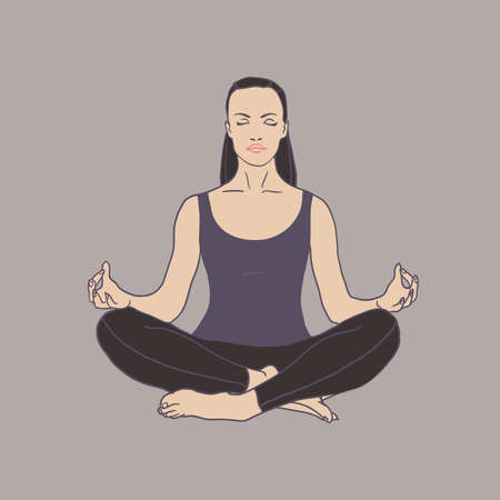 Young woman practicing yoga icon. The concept of Healthy lifestyle.