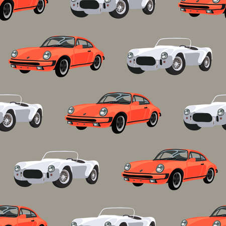 Seamless pattern with retro race cars. Vector illustration