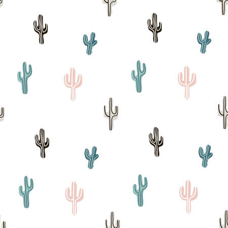 A Seamless pattern with llama, cactus and hand drawn elements. 向量圖像