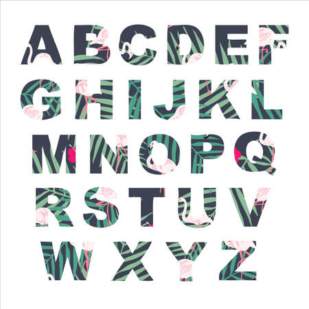 Vector alphabet collection. Retro palm letters set. Cute and trendy summer colors