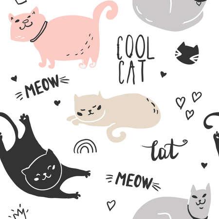 seamless cool cat pattern vector illustration. Trendy scandinavian vector background.