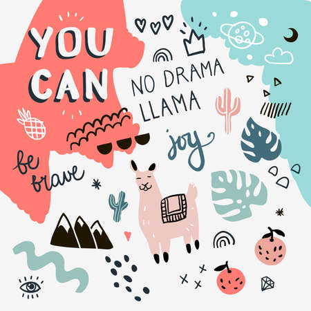 Collection of handwritten slogans or phrases in trendy doodle style. Set with llama, cactus and hand drawn elements Illustration