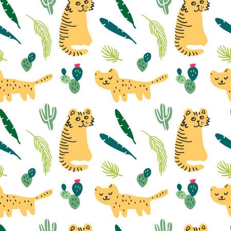 Cute leopard flat hand drawn illustration. Jungle, tropical pattern. Zoo, Travel postcard, kids book clipart Illusztráció