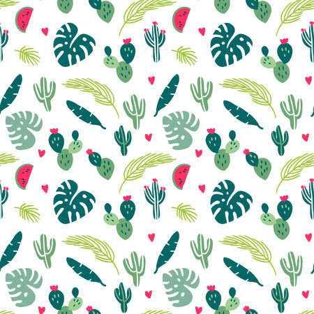 Seamless pattern with hand drawn tropical exotic leaves, cactus, watermelon. Creative modern texture for fabric, wrapping, textile, wallpaper, apparel. Vector illustration