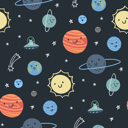 Space print. Seamless pattern with planets, sun, comet, ufo, alien, stars. Vector illustration.