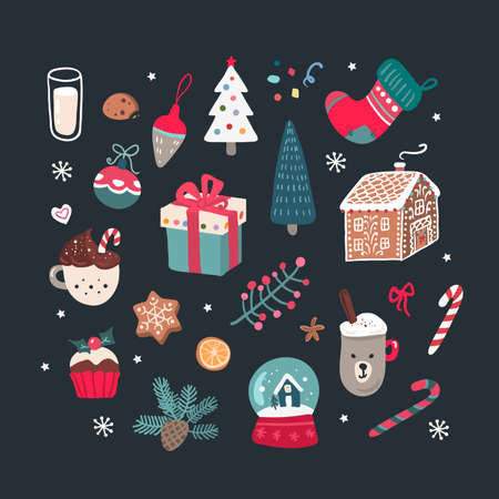 Christmas set on black background, hand drawn style. Vector illustration.