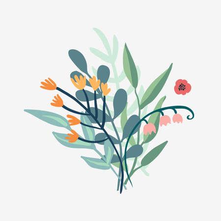 Arrangement delicate bouquet of flowers on a white background. Vector illustration. Illustration