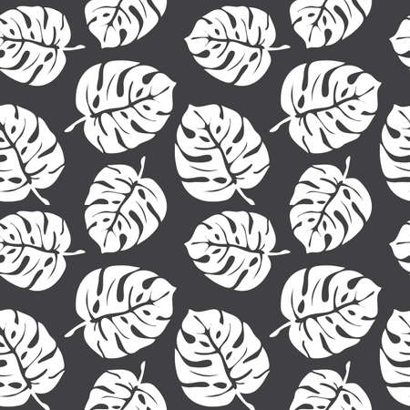 Black monstera leaves seamless pattern on white background. Tropical pattern, botanical leaf backdrop. Trendy design for fabric, textile print, wrapping paper. Vector illustration  イラスト・ベクター素材
