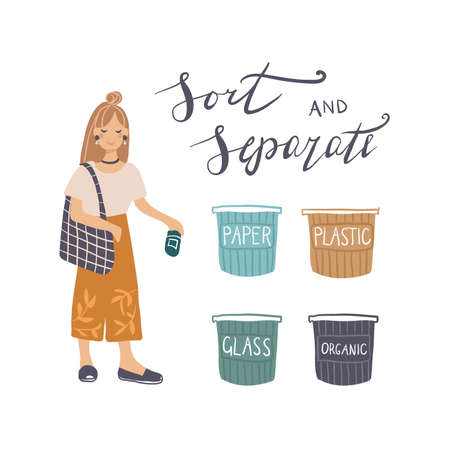 Young woman throwing glass garbage into containers vector illustration. Waste management concept with eco-friendly girl sorting waste into different tanks. Zero waste life style.
