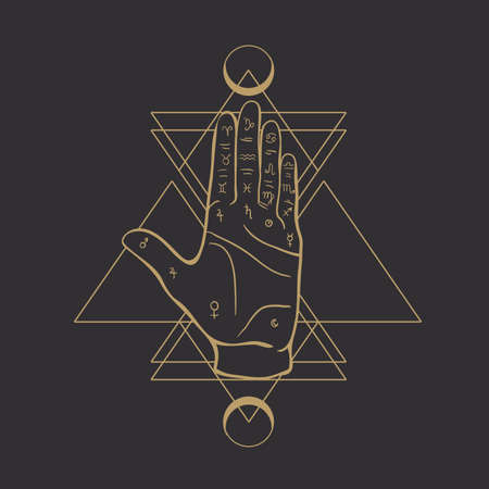 Fortune teller hand with Palmistry diagram and zodiac constellations. Magic alchemy spirituality symbol. Hand drawn sketchy palm reading with mystic and occult hand drawn esoteric symbols. Vector. Ilustração