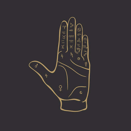 Palmistry or chiromancy hand with signs of the planets and zodiac signs black and white hand drawn design isolated vector illustra. Destiny, divination. Vector Illustration