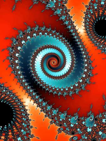 eyecatcher: Patterned fractal spiral on a red background