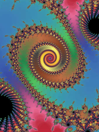 select all: Graceful fractal spiral on a colored backg Stock Photo