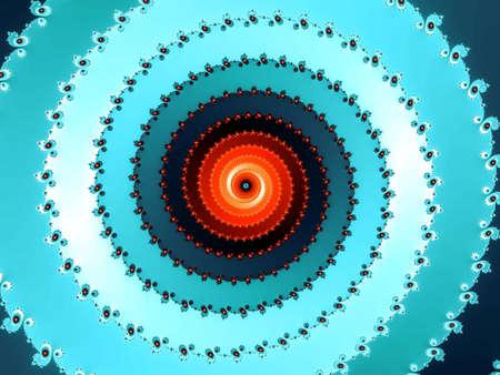 eyecatcher: Blue fractal spiral with a red center