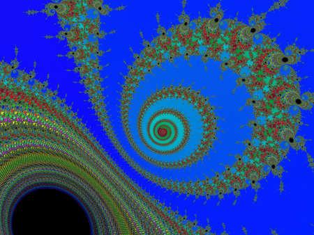 eyecatcher: Digital patterned fractal spiral on a dark  blue background Stock Photo