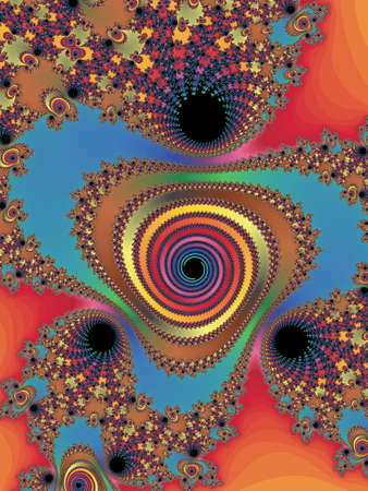 dynamically: Decorative fractal spiral in a bright colors