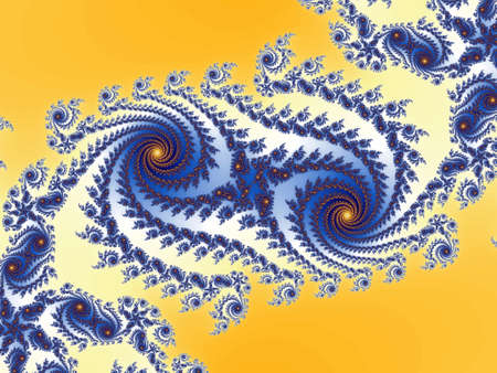 dynamically: Double frctal spiral in a yellow - blue colors
