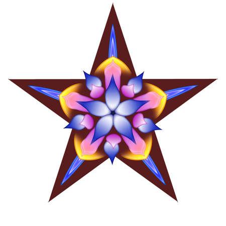 Decorative star with a flower Foto de archivo