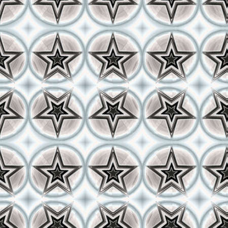 Seamless pattern with a decorative pentagrams in a gray colors