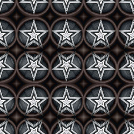 Seamless pattern with a decorative pentagrams in a dark colors Stock Photo