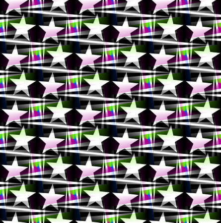 Seamless decorative pattern with a five-pointed stars in atranslucent colors Stock Photo