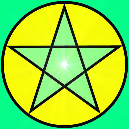 Abstract decorative pentagram with a supernova in a bright colors Stock Photo