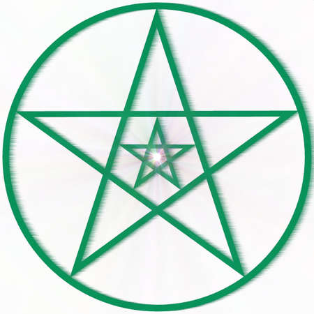 Abstract decorative pentagram with a supernova