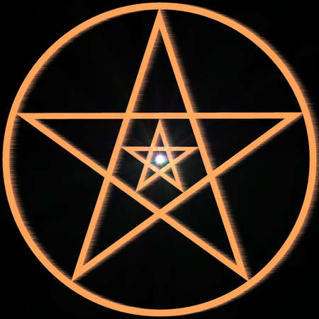 Mystical decorative pentagram with a supernova Stock Photo